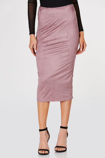 High waisted midi skirt with suede finish. Bodycon fit with straight hem all around.
