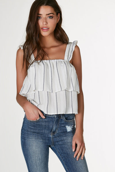 Adorable sleeveless top with crochet panel and ruffle trim detailing. Stripe patterns throughout with tiered design.