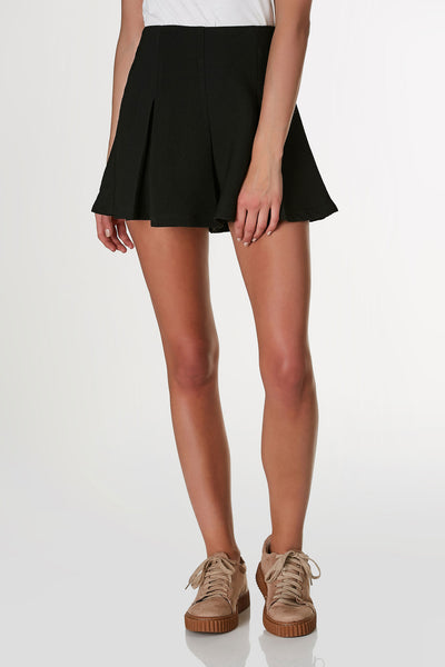 Chic high rise shorts with A-line hem and pleated design. Textured finish with hidden back zip closure.
