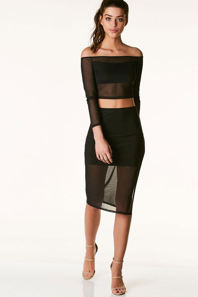 Sexy high rise midi skirt with side slit. Mini skirt lining with sheer mesh overlay.