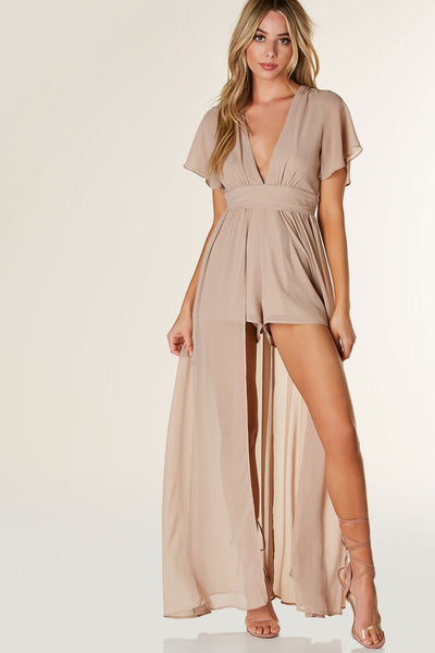 Lightweight chiffon romper with deep V-neckline and flared short sleeves. Flowy maxi overlay with cut out back and button zip closure.