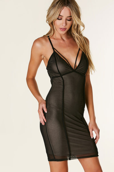 Sexy bodycon sleeveless dress with smooth mesh overlay. Strappy detailing with full lining.