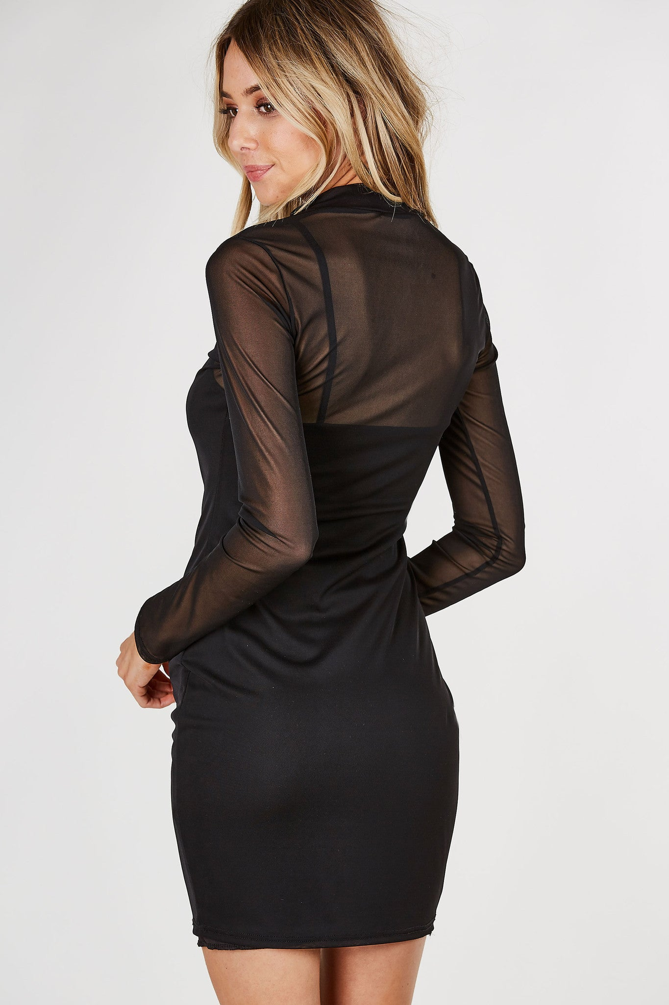 Long sleeve midi dress with mock neckline. Mesh material throughout with cami lining underneath.