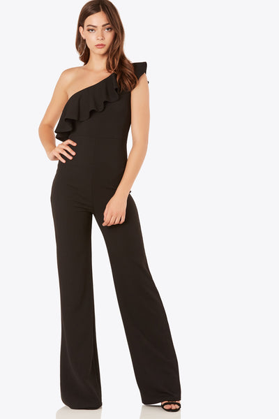 Chic one shoulder jumpsuit with bold ruffle tier design. Stretchy material with wide leg fit.