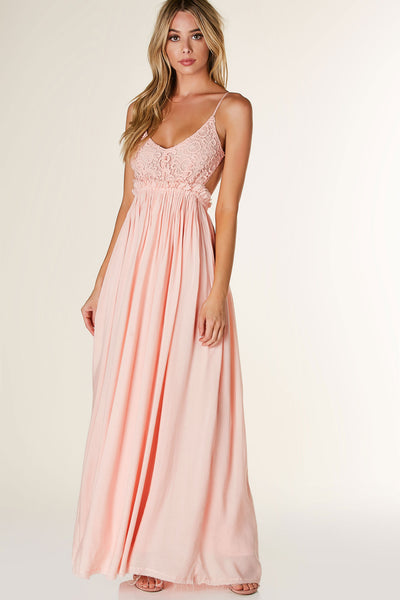 Stunning open back maxi dress with contrast crochet design. Adjustable shoulder straps with full lining and flowy fit.
