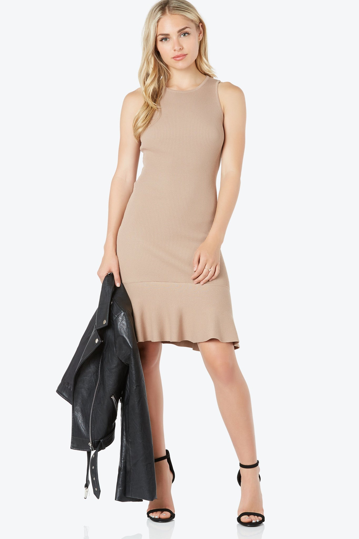 Sleeveless rib knit dress with stretchy bodycon fit. Rounded neckline with flare hem finish.