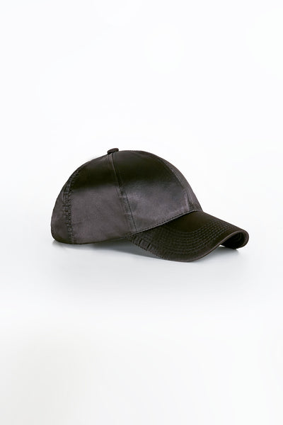Classic baseball cap with smooth satin finish and adjustable strap for fit.