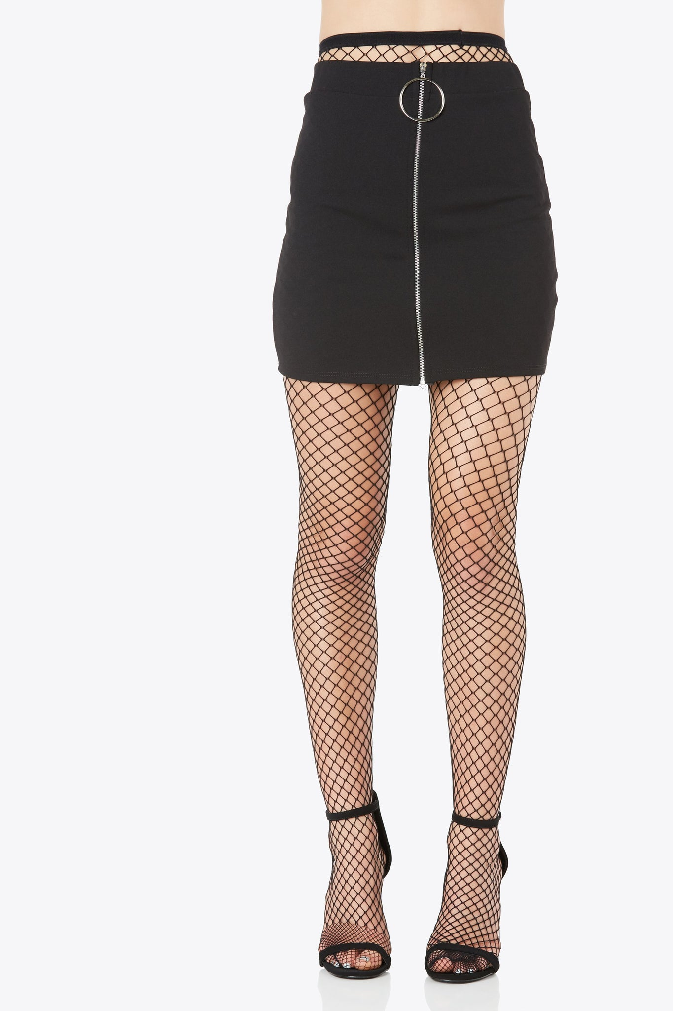 Chic high rise mini skirt with trendy front zip closure. Hoop detailing at zipper with straight hem finish.