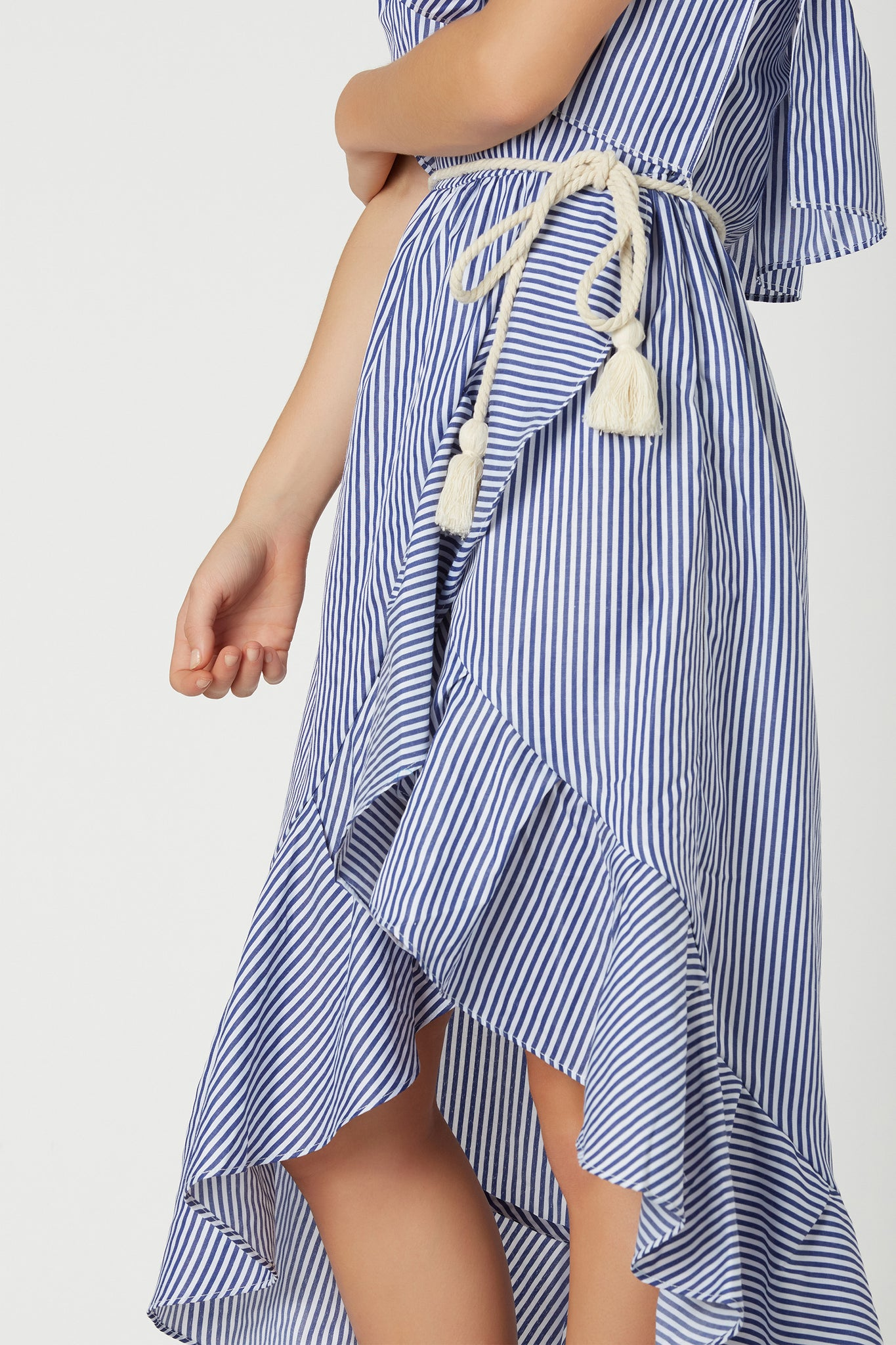 Chic strapless tube midi dress with nautical stripe patterns throughout. Tiered design with roped waist tie detailing and ruffle trim throughout.