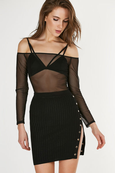 Sexy off shoulder bodysuit made of smooth mesh material. Stretchy fit with lined bralette and snap button closure at bottom.