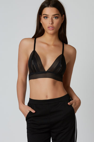 Mini wave pattern sheer bralette with adjustable shoulder straps and hook closures at back.