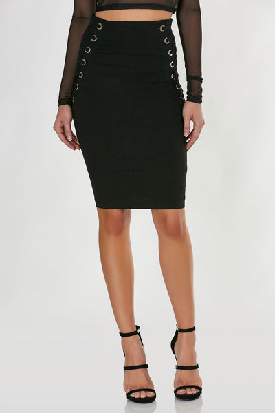High rise midi skirt with sexy lace up design on each side. Stretchy material with bodycon fit and straight hem all around.