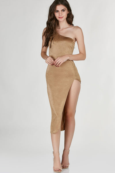 Sexy one shoulder midi dress with a deep side slit. Stretchy material with flattering slim fit.