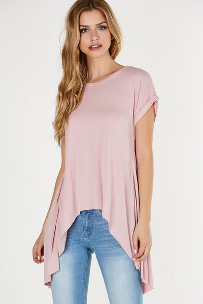 Crew neck oversized T-shirt with hi-low hem. Soft blend of materials with slit in center back.