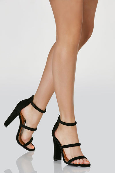 Classic three strap pumps with soft velour finish. Back zip closure and chunky block heels.
