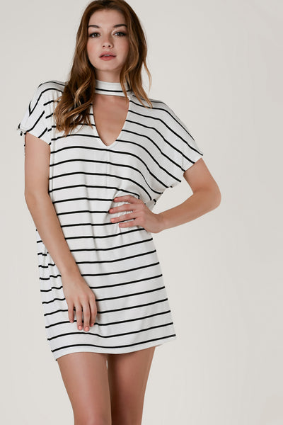 Oversized ribbed cap sleeve dress with stripe patterns throughout. Choker neckline with cut out in both front and back.