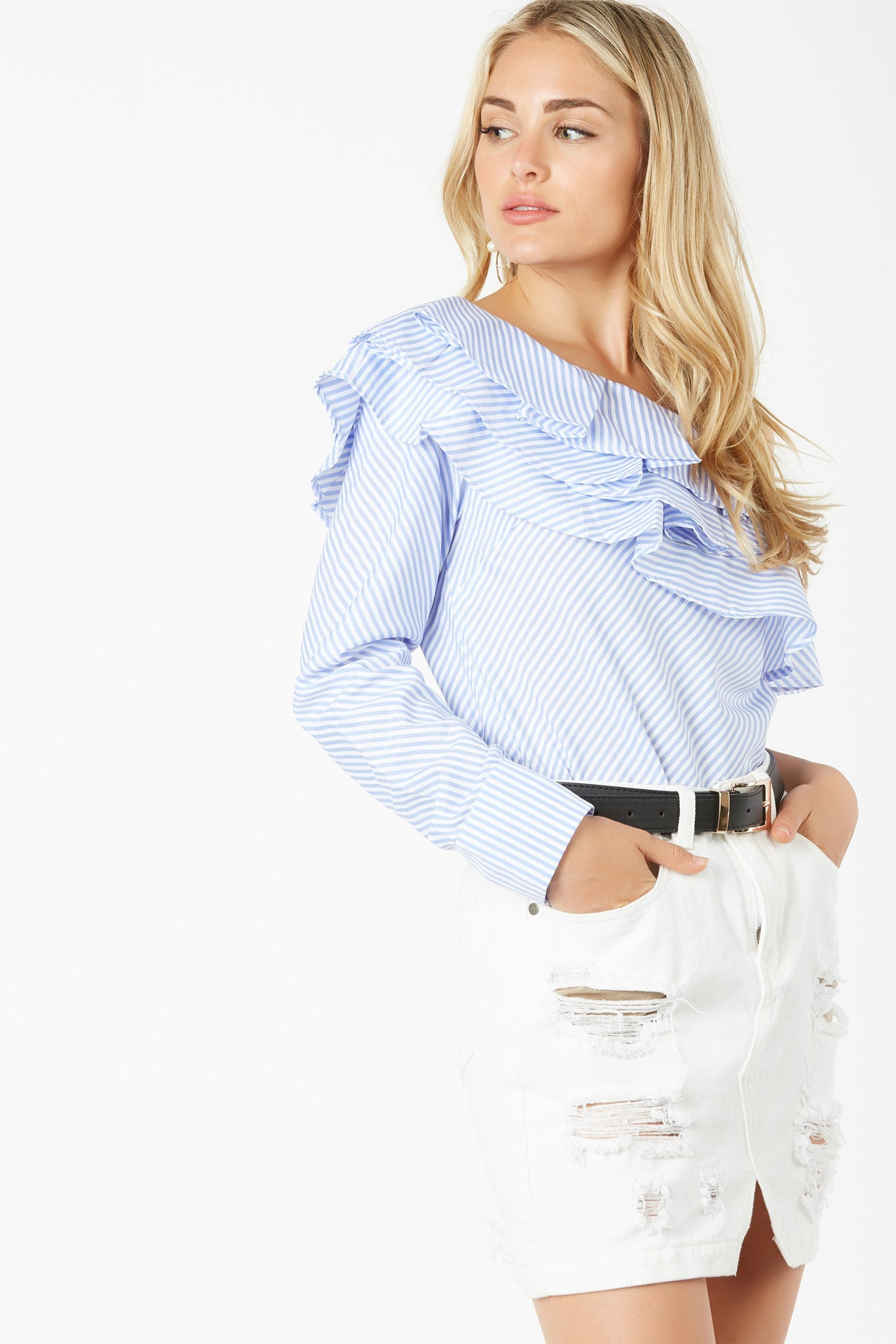 Chic one shoulder top with stripe pattern throughout. Ruffle tier detailing with relaxed fit.