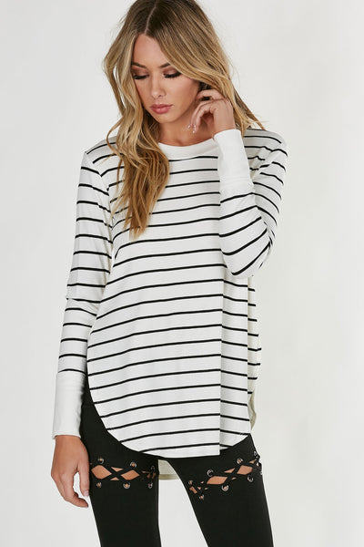 Basic ribbed, crew neck top with side slits and stripe patterns in front and on sleeves.Oversized fit with curver longline hem.