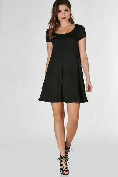 Casual round neck short sleeve dress with flirty A-line hem. Soft comfortable material with relaxed fit.