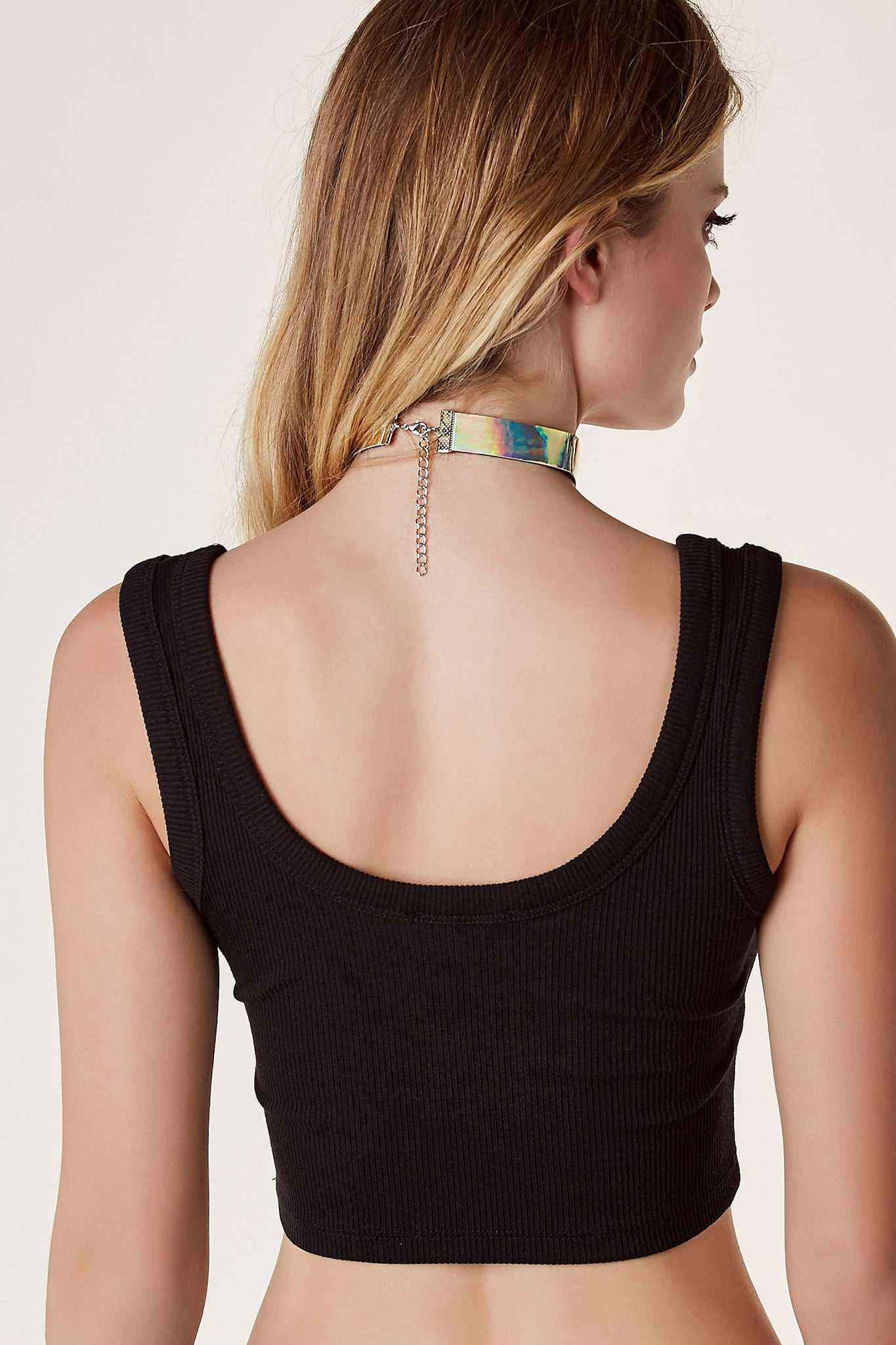 Bold single band choker with holographic finish and lobster clasp for fit and closure.