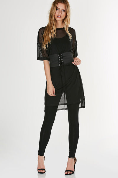 Crew neck T-shirt style mesh dress with oversized fit. Attached lace up waist belt for added detail.