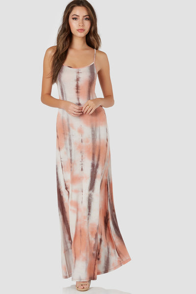 Spaghetti strap maxi dress with tie-dye print throughout. Scooped back with lace up detailing and straight hem finish.