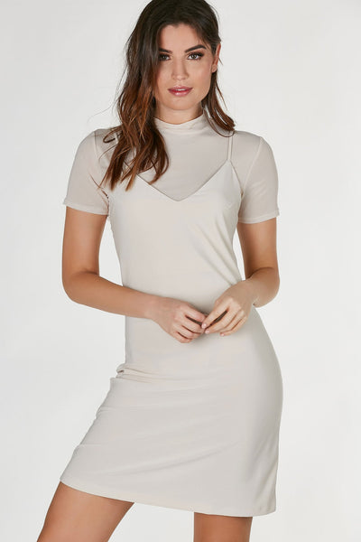 Mock neck midi dress with mesh body underneath. Slinky layered cami with straight hem all around.