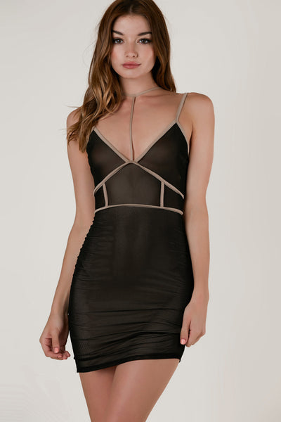 Sleeveless mesh mini dress with sexy bodycon fit. Choker strap detailing with deep V-neckline and nude lining below bust.