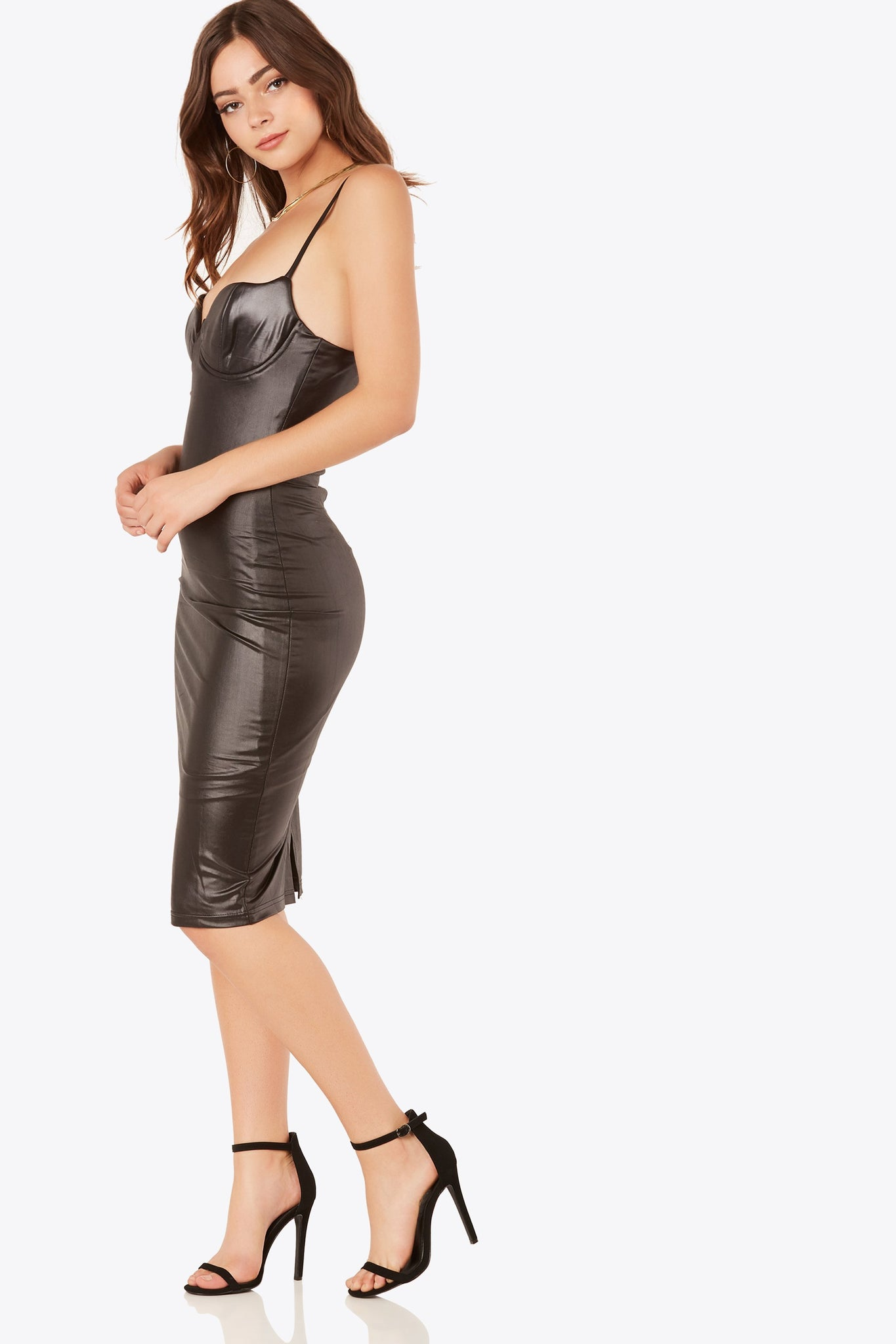 Sexy sleeveless midi dress with flattering bodycon fit. Faux leather finish with wired bust and slight padding.