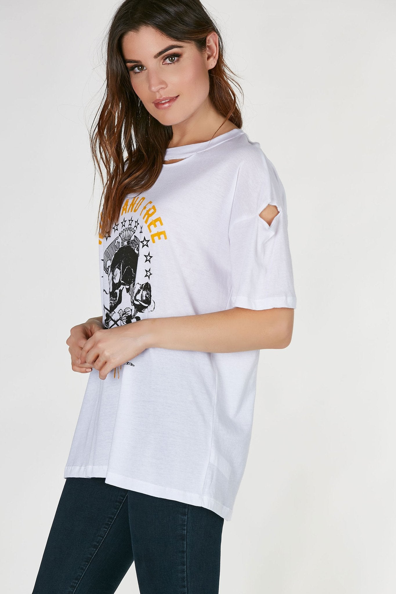 Oversized crew neck T-shirt with slightly distressing at seams. Graphic in front with straight, longline hem.