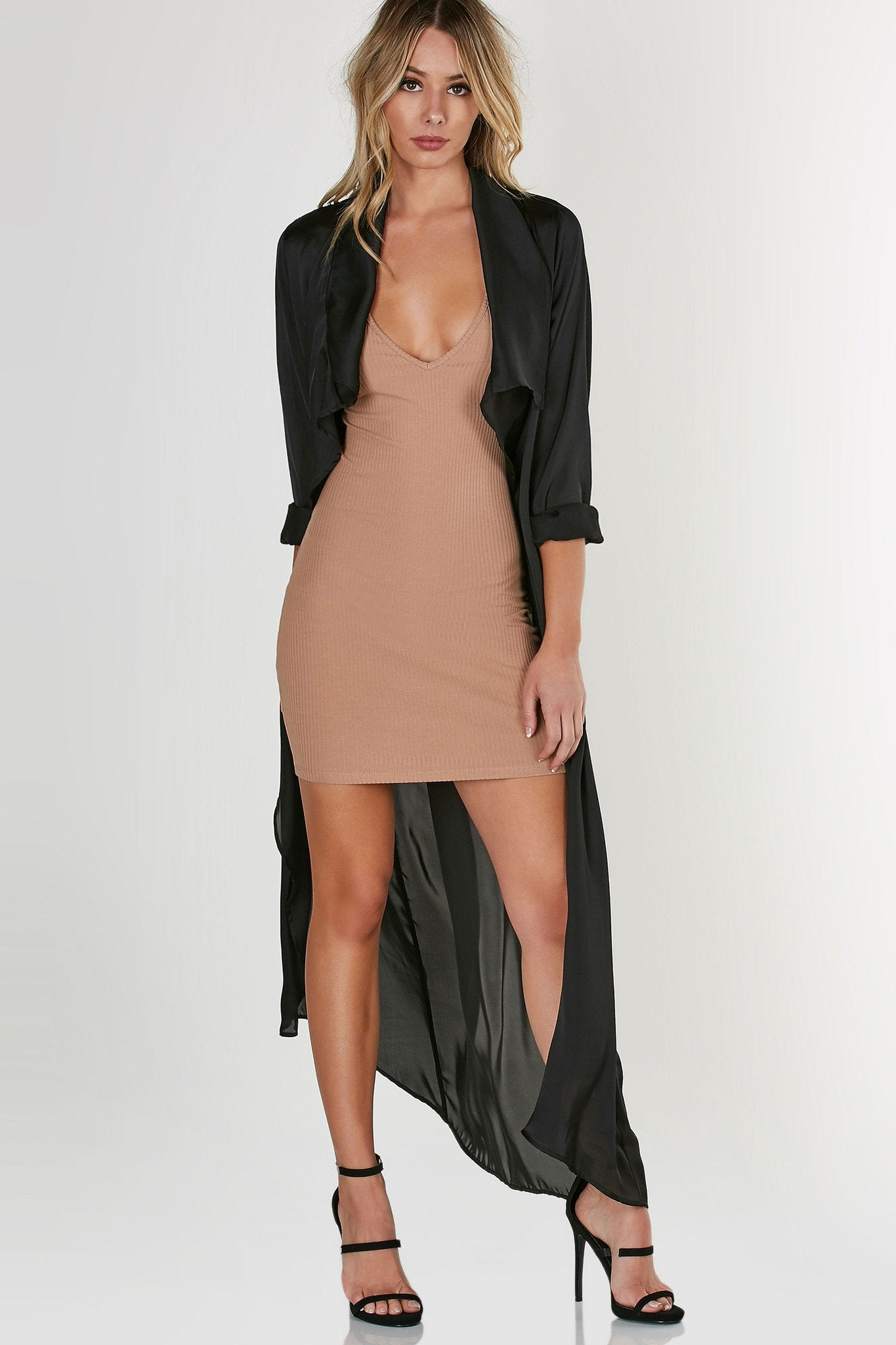 Longline, flowy duster coat with drapey open front. Long sleeves with satin like finish.