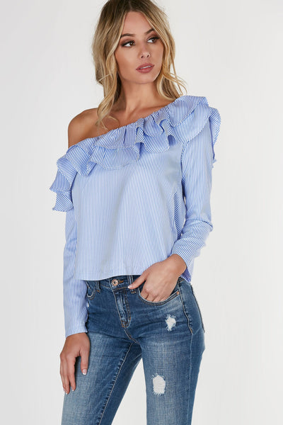 Breezy off shoulder blouse with flirty tiered ruffles and pin stripe patterns throughout. Long sleeves with structured fit and slightly curved hem finish.