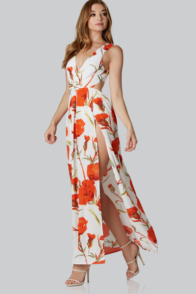 Bold sleeveless maxi dress with classic V-neckline. Open back with ties for closure and sexy slits in front. Comfortable lined bodysuit.