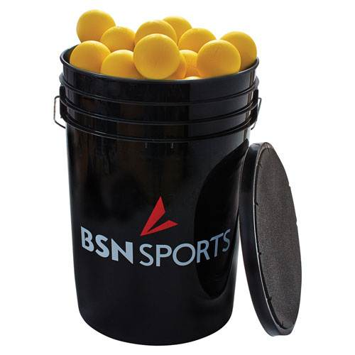 Athletic Connection Bucket with Yellow Lacrosse Balls
