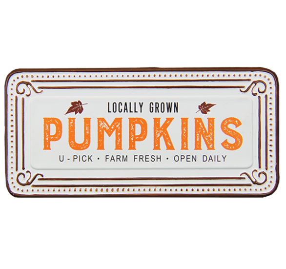 Locally Grown Pumpkins Tin Sign