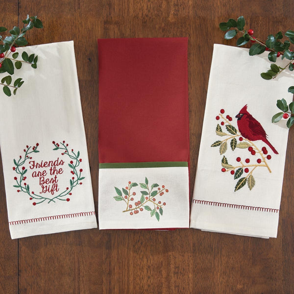 Classic Christmas Holly Dishtowel Collection