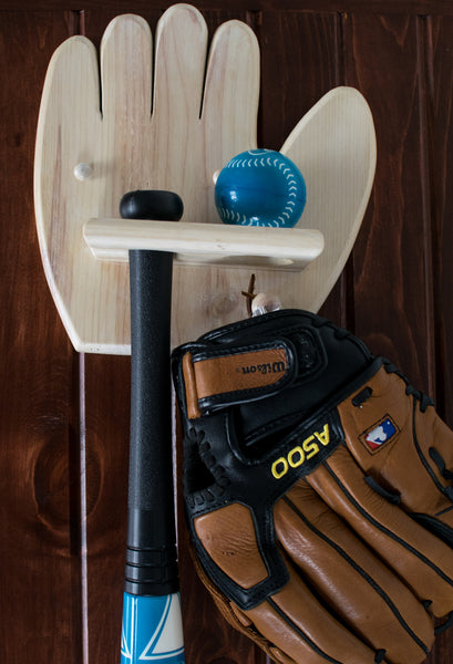Mounted Wooden Baseball Holder