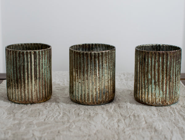 Antiqued Glass Votive Holders