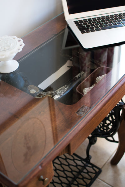 Vintage Sewing Machine Desk