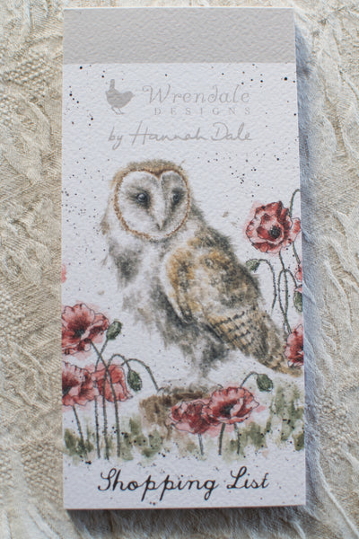 Owl in the Poppy Field - Shopping List Notepad