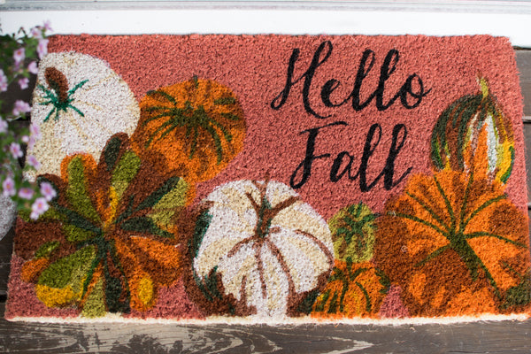"""Hello Fall"" Elegant Pumpkin Doormat"