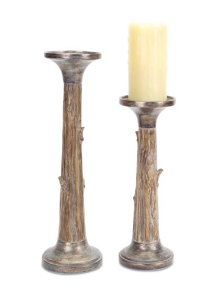 Tree Trunk Candle Sticks (Set of 2)