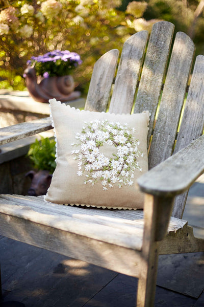 Floral Embroidered Accent Pillow