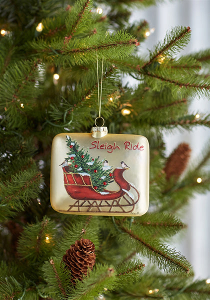 Glass Sleigh Ride Ornament