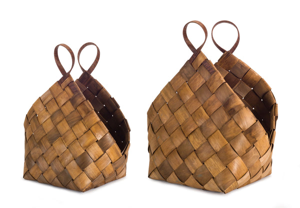 Wood Woven Baskets (Set of 2)