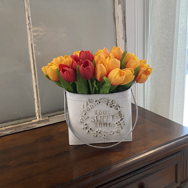 Home Sweet Home Floral Bucket