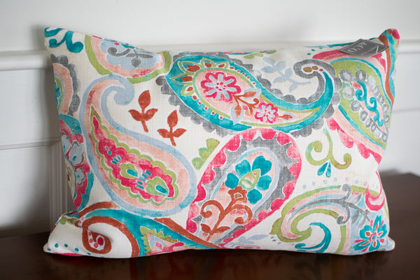 Bright Paisley Accent Pillow
