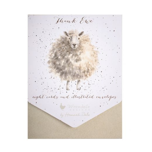 """Thank Ewe"" Set of 8 Cards - Wrendale"