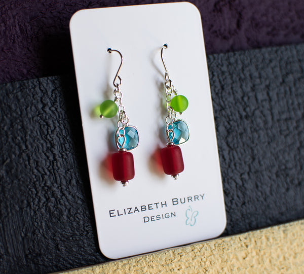 British Square Earrings - Jelly Bean Row