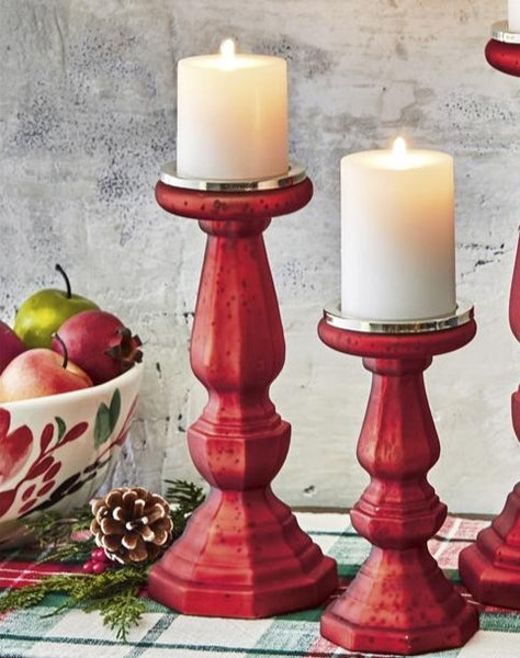 Holiday Red Pillar & Tapper Candle Holders